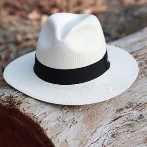 Austral White Panama Hat with Black Band
